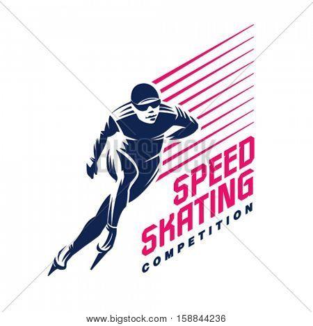 Speed skater. Sport emblem