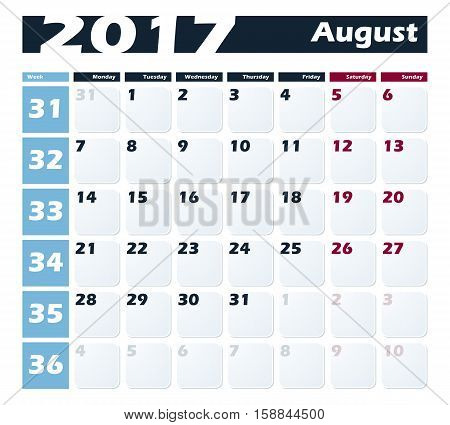 Calendar 2017 August vector design template. Week starts with Monday.