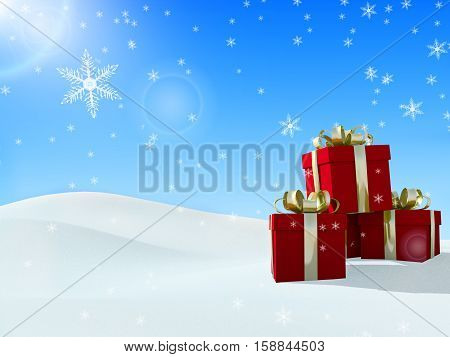 3D rendering christmas gift box on snow background