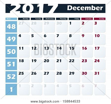 Calendar 2017 December vector design template. Week starts with Monday.