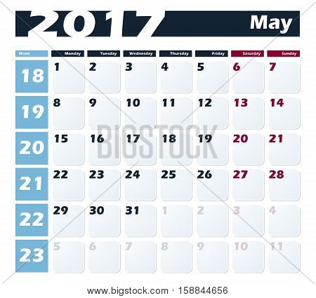 Calendar 2017 May vector design template. Week starts with Monday.