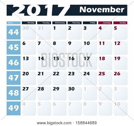 Calendar 2017 November vector design template. Week starts with Monday.