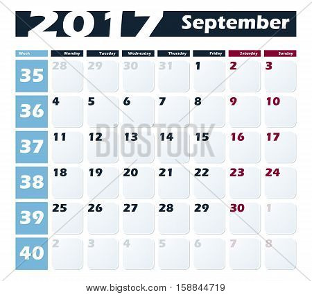 Calendar 2017 September vector design template. Week starts with Monday.