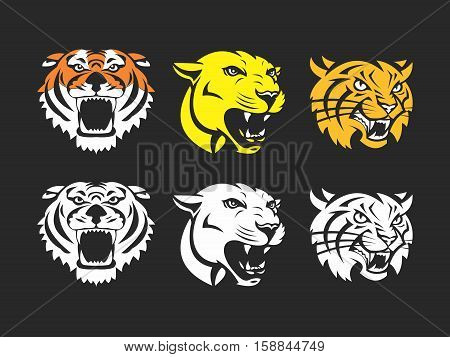 Vector Collections of Heads of Wildcat, with angry and aggressive emotions for sport mascot