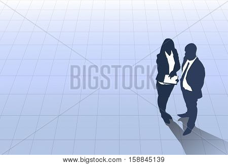 Business People Group Meeting Discussion, Talking Top Angle View, Businesspeople Team Banner Copy Space Vector Illustration