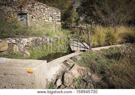 ancient watermill and a Pedestrian path in Penha Garcia, Idanha-a-Nova, district of Castelo Branco, Portugal