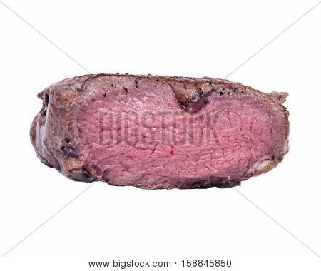 Grass fed juicy corn roast beef isolated on white background