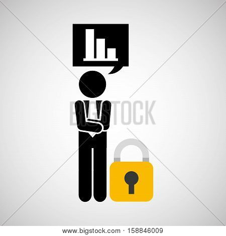 sulhouette businessman graphs security vector illustration eps 10
