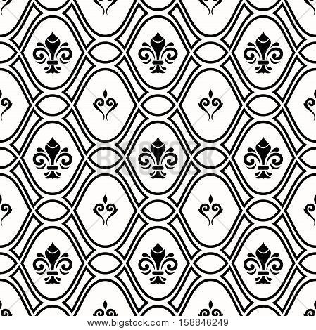 Seamless ornament. Modern geometric pattern with royal lilies. Black and white pattern