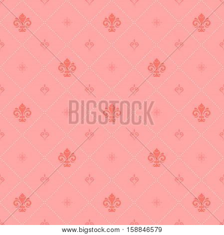 Seamless colored ornament. Modern geometric pattern with royal lilies