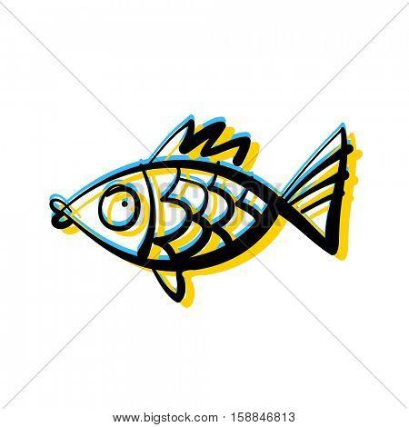 Cute fish. Aquarium fish isolated on white background. Vector illustration.