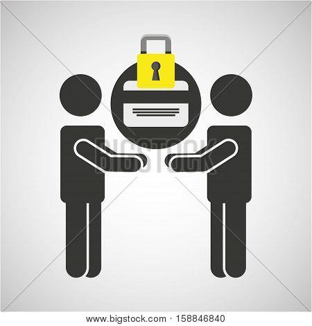 silhouette men card bank internet safety vector illustration eps 10