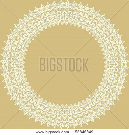 Oriental round white frame with arabesques and floral elements. Floral fine border. Greeting card with place for text