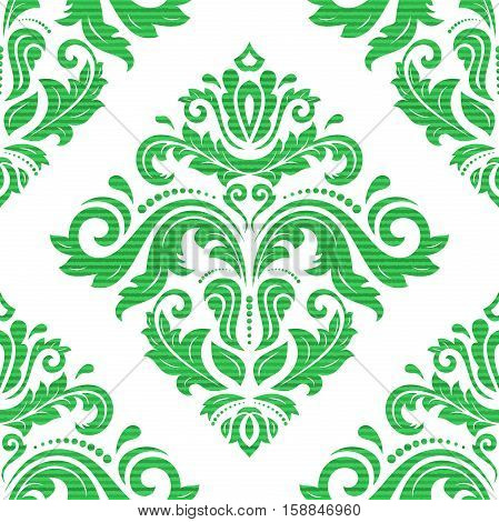 Oriental classic pattern. Seamless abstract background with repeating elements. Green and white pattern