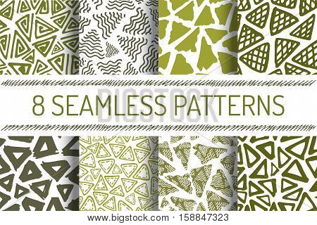 Hand Drawn Seamless Triangle Pattern In Retro Style. Olive Colors Delta Background Set. Trigon Squiggle Texture Organic Geometric Design