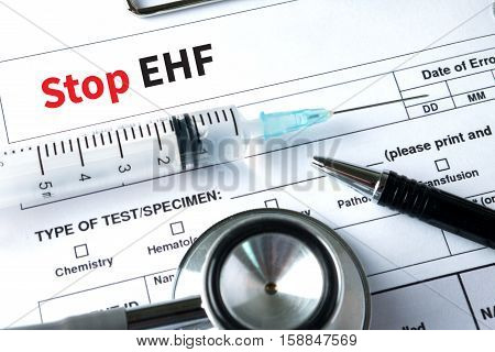 Stop Ehf (ebola Hemorrhagic Fever) Stop Ehf (ebola Hemorrhagic Fever) Doctor Work With Medical Equip