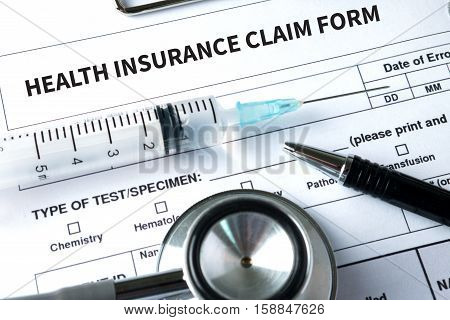 CLAIMS Health insurance form claims document of the customer to the insurance Claims - Business Concept insurance claim Insured Claims Emergency Condition