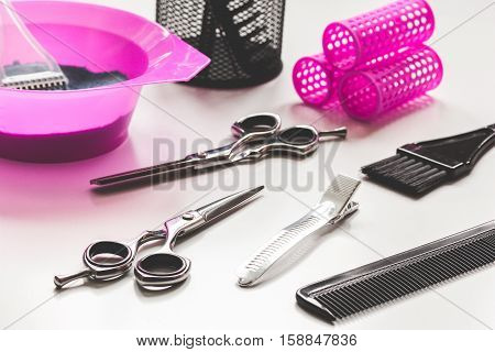 hairdresser working desk preparation for hair dyeing close up