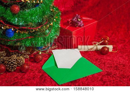 Christmas Tree With Open Envelope With Paper