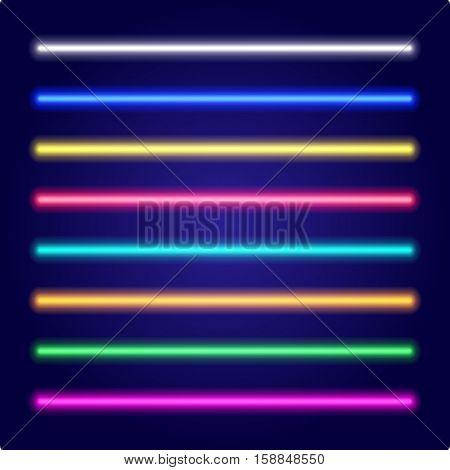 Neon tube light. Vectorillustration. Set of color laser beams.