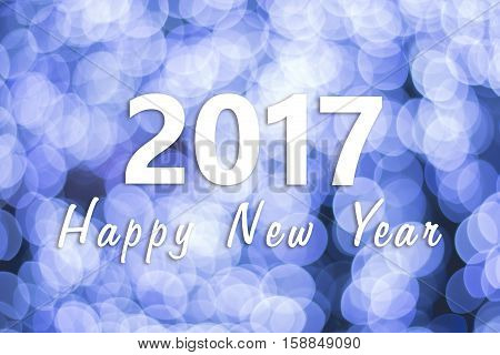2017 Happy New Year background with blue bokeh