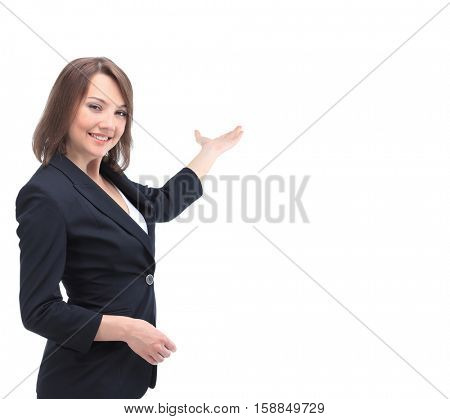 Smiling girl showing open hand palm with copy space for product