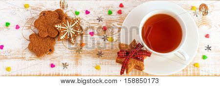 Christmas Decoration. Christmas background. Нoliday cookies on  wooden table