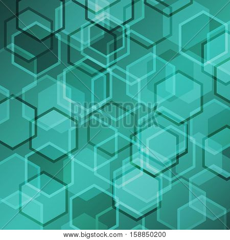 Abstract green gradient background with hexagon, stock vector