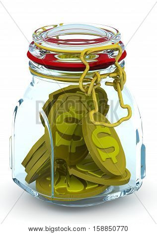 Piggy bank with American dollar coins. Glass Jar for canning with a coins of the US dollar on a white surface. Isolated. 3D Illustration