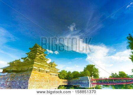 Matsumoto Castle Artsy Water Surface Reflection