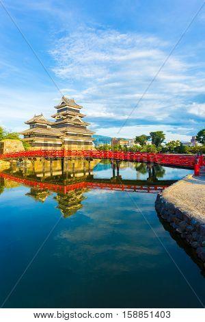 Matsumoto Castle Bridge Water Reflection V