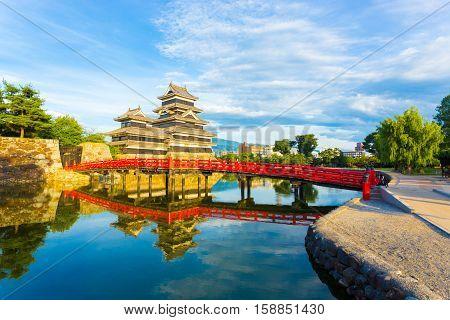 Matsumoto Castle Bridge Water Sky Reflection H