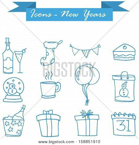 Vector art of New Year icons collection stock