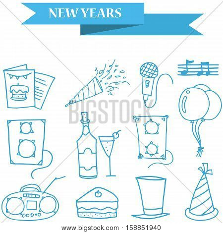 Object New Year icons collection stock illustration