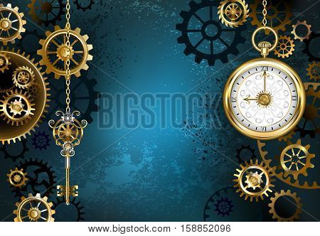 Turquoise textured steampunk background with brass and gold gears a silver key and the clock. Steampunk style.