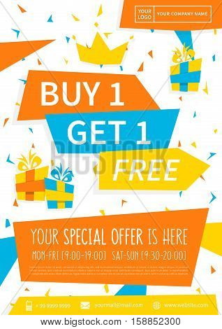 Promotion banner Buy 1 Get 1 Free vector illustration. Special offer advertising poster design. A4 size. Ready to print.
