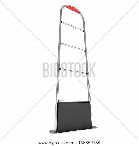 3D shop security anti-theft sensor gates. 3D render illustration of shoplifter scanner isolated on white background. Scanner entrance gate for prevent theft in shop or store. Security concept.