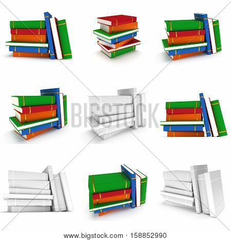 Stack of colored Books on white background. 3d render. Studing illustration. Back to school. Education concept.