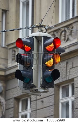 Overhead traffic light showing red
