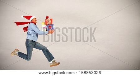 Happy man with gifts