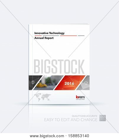 Business vector. Brochure template layout, cover design annual report, magazine, flyer in A4 with red rectangular shapes, diagonal lines, parallelogram for IT, business, building. Abstract.