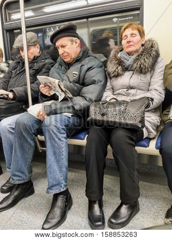 Moscow, Russia - November 28, 2016: Reportage Footage Of The Moscow Metro. Passengers Traveling On T