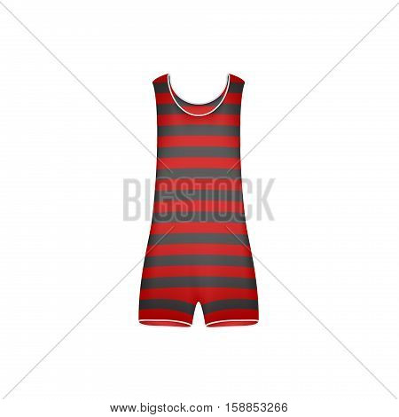Striped retro swimsuit in red and black design on white background