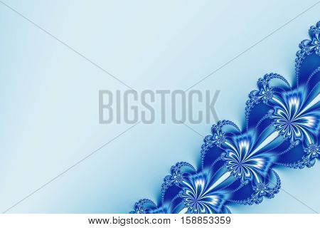 Fancy diagonal ribbon fractal in blue and white glitter resembling flowers. Text space. For candy box designs templates cards skins books leaflets pamphlets websites PC or phone background.