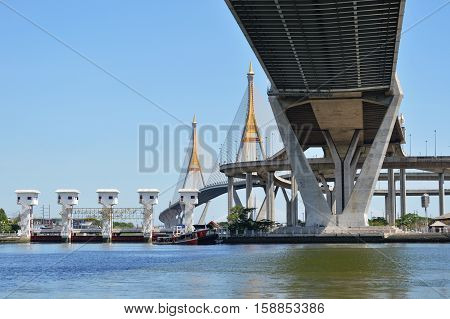 Bangkok Thailand May 8, 2014 : Bhumibol bridge or bridge of industrial rings over river for industrial road