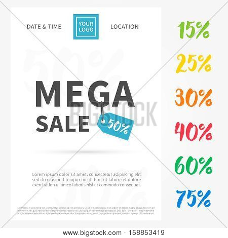 Banner Mega Sale set. Advertising poster vector illustration. Promotion banner for shop store.