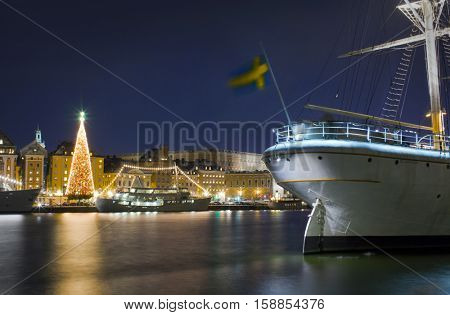 Stockholm city illuminated with christmas lights at nigh