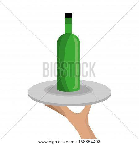 waiter with wine bottle icon vector illustration design