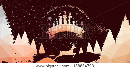 Graphic christmas message with candles against mosaic landscape with reindeer