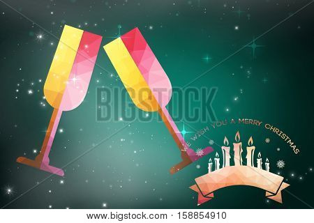 Graphic christmas message with candles against green background with vignette